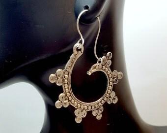 Antique Silver Beaded Swirl Earrings, Boho Hoop Earrings, Bohemian Swirl Earrings, Eclectic Style, Beaded Gypsy Earrings