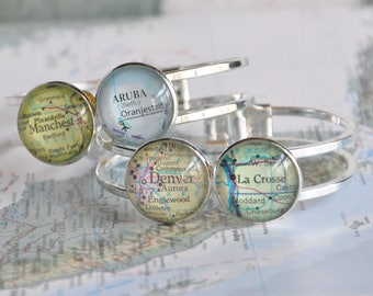 Gift for Mother's Day Personalized Map Bracelet Cuff