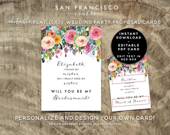 I Found My MISTER,  Will You Be My Bridesmaid Card, Maid of Honor, Wedding Proposal | Custom, Personalized | Ashley | Editable PDF Template