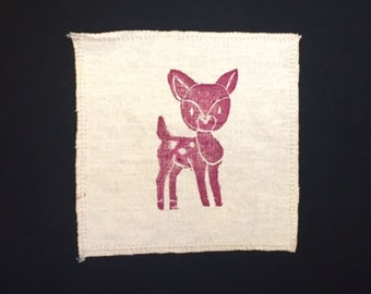 Organic Cotton and Hemp Patch with Deer print - Handmade and printed