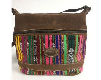 Colorful Striped Handbag with Brown Suede and Long Shoulder Strap - Guatemalan Ikat Fabric in Pink, Green, Yellow, Purple - Vintage 80s Bag