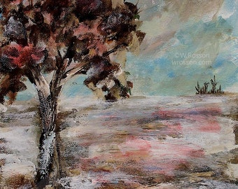 Winter, Landscape, Trees, Snow, Clouds and Sky,  Original Painting, Landscape Painting, Home Decor, Office Art, Gift, Winjimir,  Wall Art