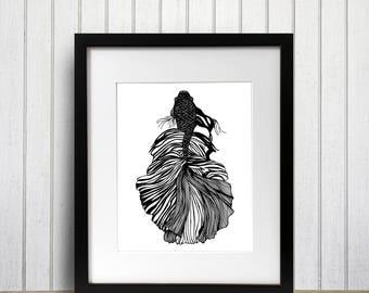 Feathered Fish Redux Original Ink Drawing - Art Print