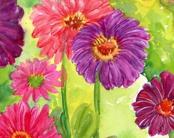 8 x 10 Zinnias watercolor painting original, watercolor painting, floral zinnia wall art, garden artwork, Flower art, watercolor flowers