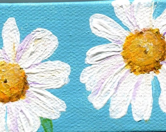 Shasta Daisies painting, mini canvas art, mini easel. Original acrylic painting flowers, small painting, Shasta daisies on blue