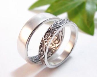 Womens Wedding Band Set, Womens Wedding Ring Set, Mens Wedding Band, Mens Wedding Ring, Sterling Silver Wedding Rings, Floral Wedding Bands
