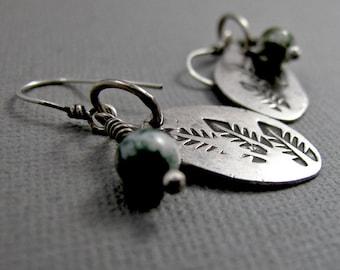 Organic Leafy Earrings with Moss Agate Gemstone Beads - Sterling Silver Dangle Earrings