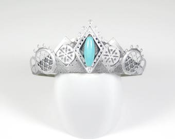 Howlite Silver Temple Tiara - by Loschy Designs