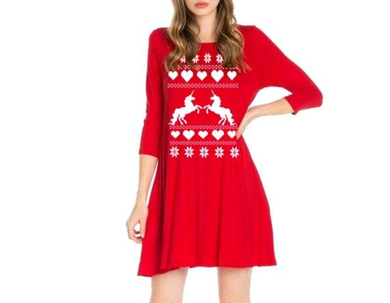 Plus Size Holiday Unicorn Dress Christmas Dresses Unicorns