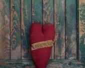 Red Valentine Heart Bowl Filler, FOREVER, Farmhouse Decor, Primitive Heart Ornament, Farmhouse Style, Rustic Heart Decor - READY to SHIP