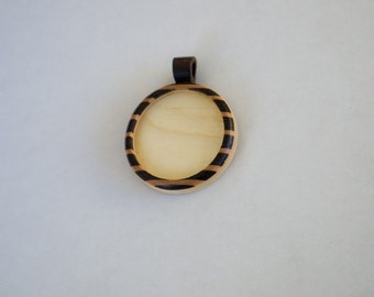 USA artisanal marquetry work pendant blank - Various wood types - 30 mm Cavity - (Z303c-X) - Wooden Bail