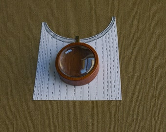 Shadow box pendant blank finished - Mahogany - 30 mm cabochon - (Z30g-M) - Glass Cab Included
