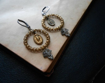 sisters of mercy - antique repurposed virgin mary filigree hoop chandelier earrings