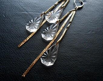 deco darling - victorian earrings crystal earrings repurposed vintage bridal earrings gold earrings crystal wedding earrings asymmetrical