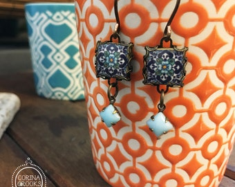 Talavera tile design earrings, Mexican Folk art, Mexican Pottery design, drop earrings, long earrings, Blue and turquoise