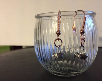 """handmade earrings, 3/4"""" swirl and star from copper earwire with copper wrap and ball, a subtle statement with mixed metals."""