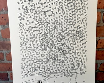 "Vintage Downtown Detroit Map 18"" x 24"" Silkscreened Print"
