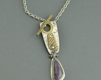 Toggle Necklace with Purple Charoite sterling silver brass mixed metal
