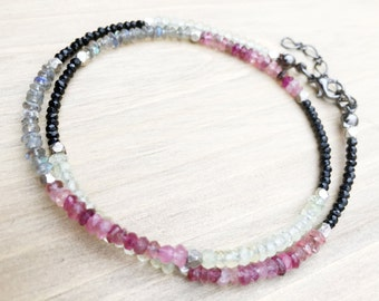 The Uzuri Collection- Facetted Beads of Labradorite, Spinel, Garnet, Lemon Quartz with Silver by Quamby Designs