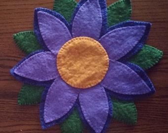 Purple Flower Penny Rug