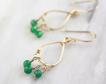 Green Onyx Gold Teardop Chandelier Earrings