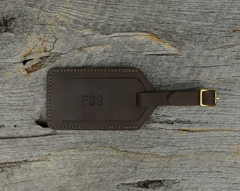 Brown Stone Leather Luggage Tag with Free Monogram - Personalized Travel Gift for Man Boyfriend Husband Brother Dad Grad