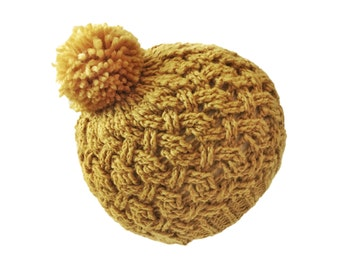 "Mustard Wool Cable Pom Pom Beanie with unique woven pattern ready to ship in 16"" baby size ~ superwash natural fiber yellow ochre present"
