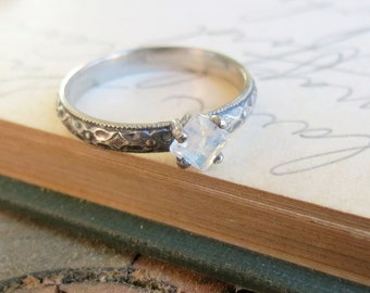 Princess Square Rainbow Moonstone Gemstone Ring, Stacking Ring, Alternative Engagement Ring, Promise Ring, Sterling Silver Princess Cut