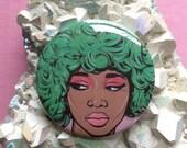 Green Kawaii Comic Girl Button