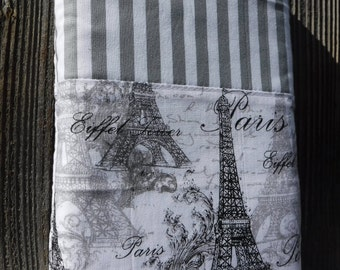 Book Bag, Cloth Book Sleeve, Book Protector, Book Cover, Cloth Book Cover, Fabric Book Pouch, Fabric Book Cover, Gift, Paris France Tower