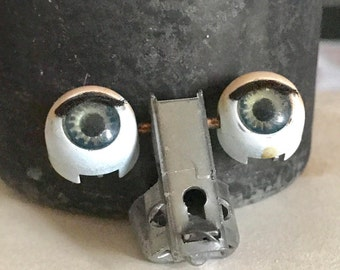Vintage Doll EYES ROBOT Halloween Eyelashes Jewelry SUPPLIES Curiosity Cabinet Doll Part Altered Art Supplies Blue Green Rocker Cincher 21B