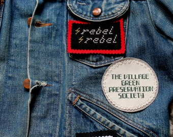 Rock and Roll Jacket Patch Bundle/3 Cross Stitched Patches/Misfits/David Bowie/The Kinks/Teenager from Mars/Rebel Rebel/The Village Green