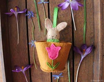 Flower Pot Friends - Bunny Rabbit Felt Ornament Pattern - PDF Instant Download