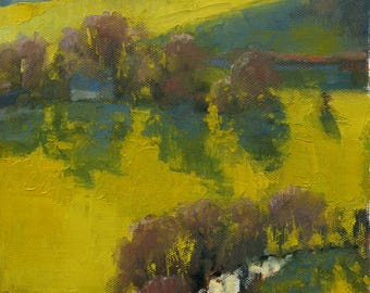 Green Fields, Dartmoor, landscape oil painting 9x12in