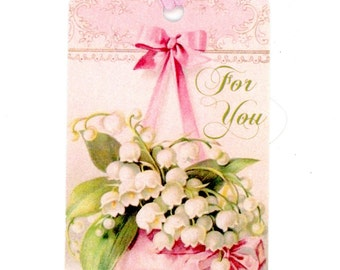 For You Gift Tags , Lily of the Valley Tags , Pink Tags , Vintage Tags , Flower Tags , Pink and Green Tags , Gift Embellishments