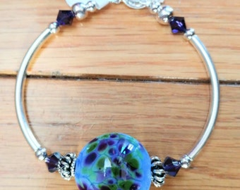 artisan lampwork bead with sterling silver tube bracelet