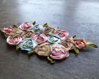 1920s Silk Roses Ribbon Work Appliqué