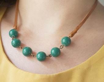 Leather Necklace Leather Jewelry Emerald Necklace Beaded Necklace Boho Necklace Gift Fall Necklace Women Gift  Modern Necklace Gift For Her
