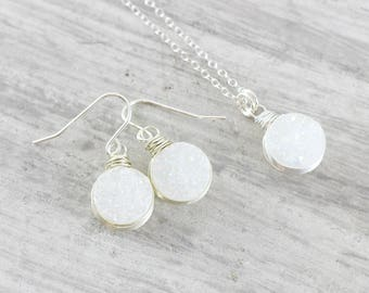 White Bridal Jewelry Set, Delicate Bride Necklace, White Druzy Necklace, Sterling Silver Druzy Earrings, Wire Wrap Wedding Jewelry
