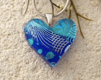 Small Blue Necklace, Dichroic Heart Necklace, Fused Glass Jewelry, Dichroic Jewelry, Heart Necklace, Silver Chain, Blue Pendant, 031217p3