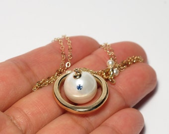 Gold Saturn Necklace, Custom Made, Hana Yori Dango, Gift for Girlfriend, Boys Over Flowers, Pearl Necklace, Birthstone Necklace, Unique Gift