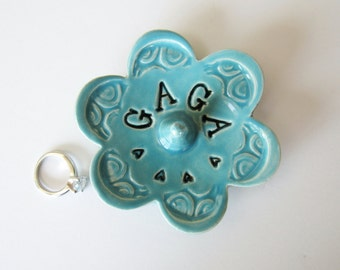 Blue Gaga ring dish - Gift for Gaga - Keepsake Ring Dish -  Glazed in turquoise sea isle blue - Gift box included