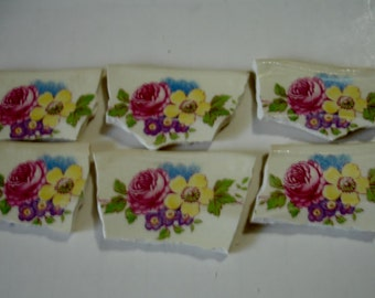 Mosaic Tiles 6 Focal Rambling Rose + Flowers Broken Plate Tessera
