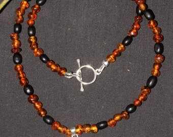 Baltic Amber, Lignite Jet and Fairy Star Necklace - Witches Necklace - Sterling Silver - Organic Jet