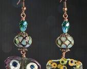 Glass Ginko Leaf Earrings, Irridescent Crystal Earrings, Multi-Colored Earrings, Lampwork Beaded Earrings