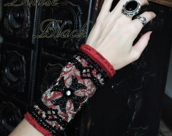Vampire Red Jet Beaded Maltese Cross Cuff Gauntlet by Louise Black