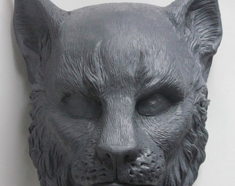 SMALL Cast Resin Cat Khajiit Mask based on original sculpt
