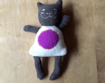 Recycled Cashmere Cat Doll - one of a kind stuffed animal