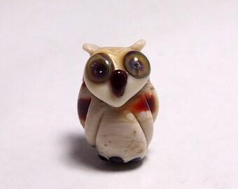 Handmade Lampwork Glass Owl Bead - SALE