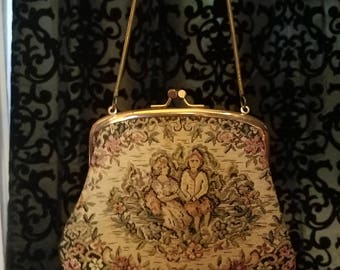 Vintage Needlepoint Tapestry Evening Bag Purse, Victorian Lovers 1950's